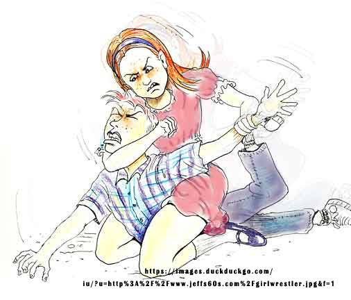 Woman beating man