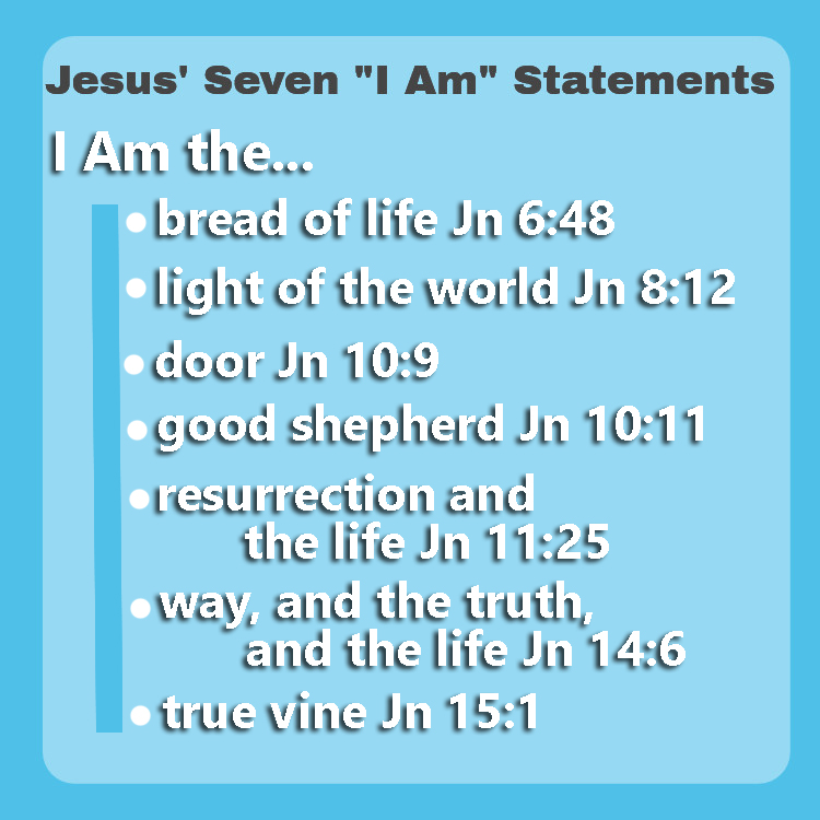 the 7 i ams of john What can the seven i am claims teach us john barnett home is jesus god jesus says that i am all you need, needed, and will ever need and in john 15 explains - how to get and keep everything he has promised us.